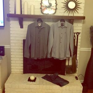 2 long sleeve Quicksilver button down shirts.